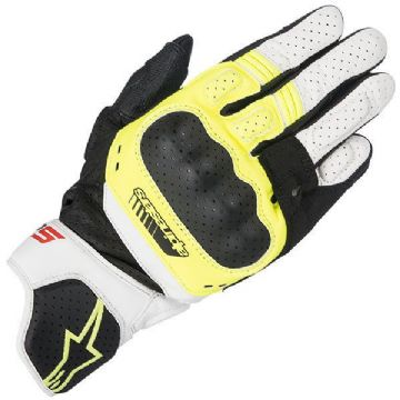 Alpinestars SP-5 SP5 White & Fluo Short Leather Racing & Sport Motorcycle Gloves